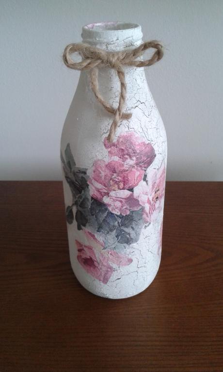 Fľaša vintage decoupage,