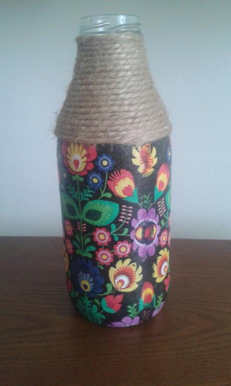 Sklenena flasa decoupage,