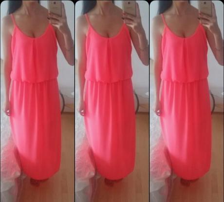 Dlouhé zářivě růžové šaty, S