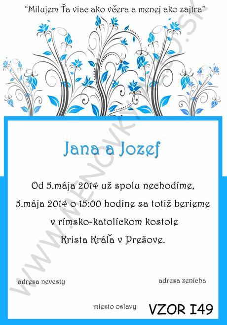 svadobne oznamenia - v tyrkysovo-modrej farbe,