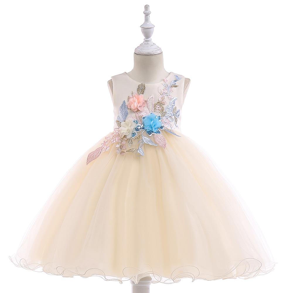 76c4c01599cb Detské šaty l5029 - krémové (110 - 146)
