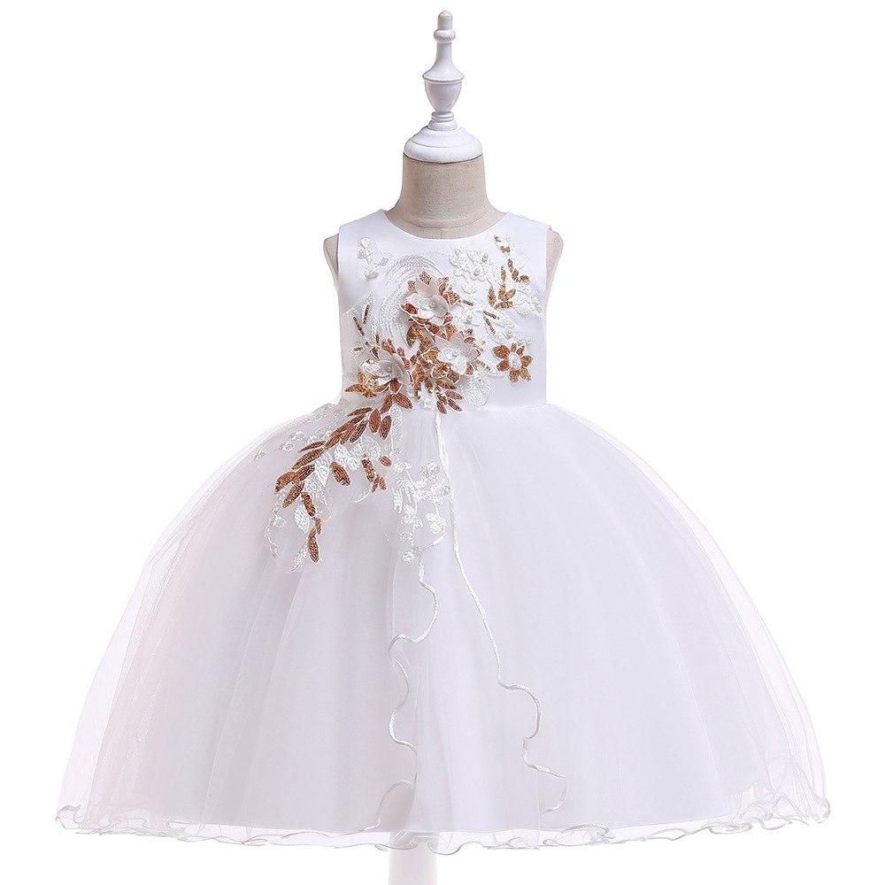 e82692fe860d Detské šaty l5060 - biele (110 - 146)
