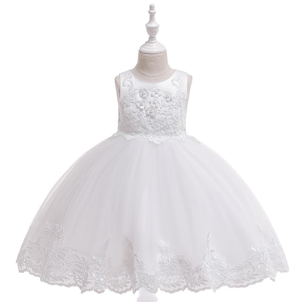 ce69e73d8f2f Detské šaty l5097 - biele (110 - 146)