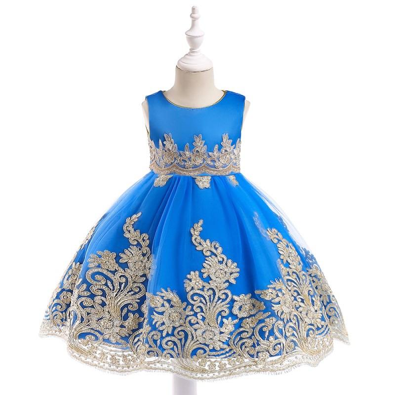b56166999a5a Detské šaty l9029 - modré (98 - 146)