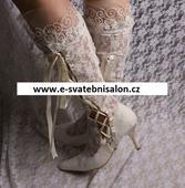 Ivory krajkové svatební kozačky, 34-42, 36