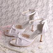 Bílé satén, krajka, svatební lodičky, 8cm, 34-42, 36