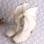 Ivory svatební kozačky, 8cm podpatek, 34-42, 36