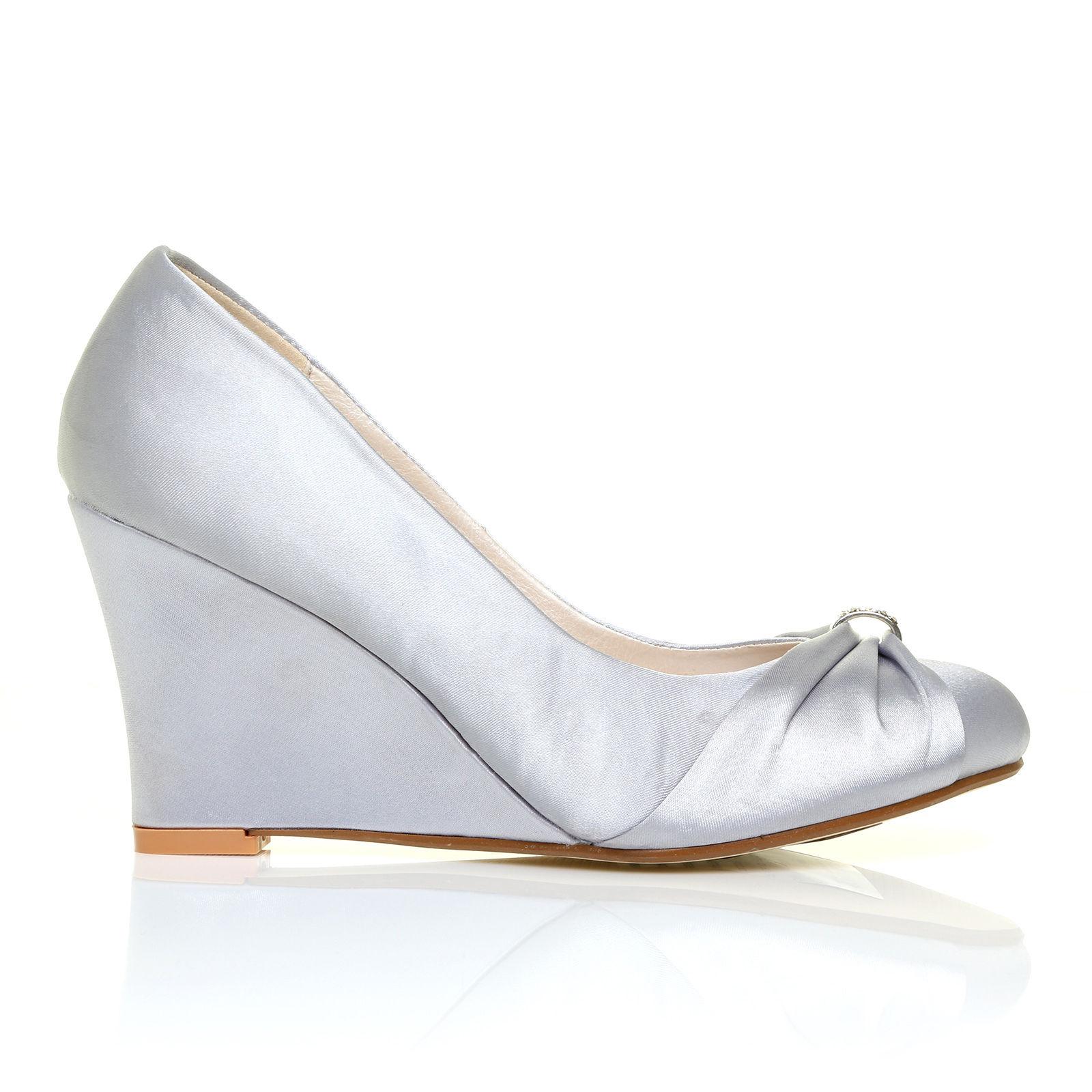 Stříbrné společenské boty, klínek, 36-41 - Obrázek č. 1