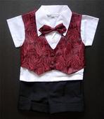 Letní burgundy oblek 6m-3 roky - půjčovné, 80