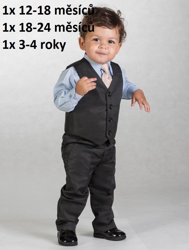 Černý oblek s proužkem, 12-18m - půjčovné - Obrázek č. 1