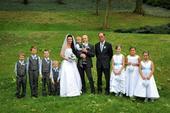 Saténové bílé šaty pro družičky, půjčovné, 116