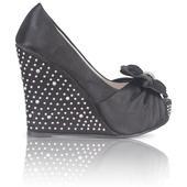 Černé společenské, plesové sandálky, klínek, 36-41, 37
