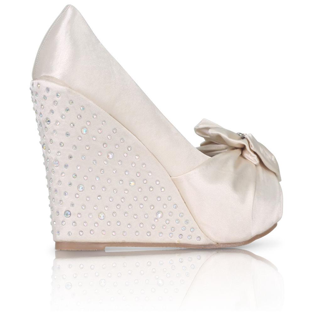 Stříbrné saténové boty, vysoký klínek, 36-41 - Obrázek č. 3