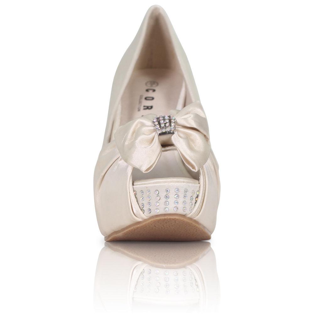 Stříbrné saténové boty, vysoký klínek, 36-41 - Obrázek č. 4