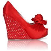 Červené saténové svatební boty, klínek, 36-41, 36