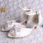 Bílé krajkové svatební lodičky, 4cm podpatek, 34-4, 39
