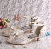 Ivory krajkové svatební lodičky, 4cm podpatek, 34-, 34