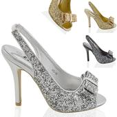 Stříbrné flitrované společenské sandálky, 36-41, 41
