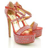 Červené extravagantní sandálky, 36-41, 37