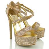 Zlaté extravagantní sandálky, 36-41, 41