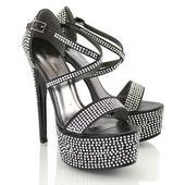 Černé extravagantní sandálky, 17cm podpatek, 36-41, 39