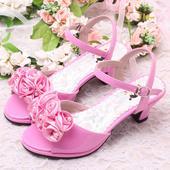 Růžové společenské sandálky pro družičky, 26-36, 26