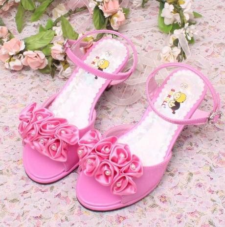 Růžové společenské sandálky pro družičky, 26-36 - Obrázek č. 2