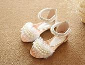 Bílé dětské perličkové sandálky, 26-36, 31