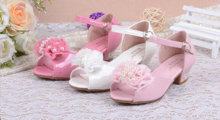 Růžové svatební dětské sandálky, 26-36 - Obrázek č. 1