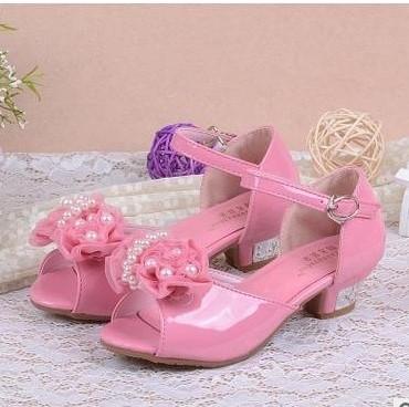 Růžové svatební dětské sandálky, 26-36 - Obrázek č. 4