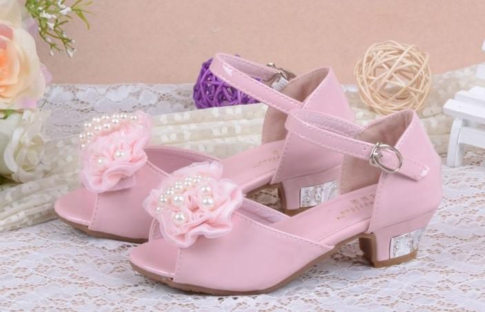 Růžové svatební dětské sandálky, 26-36 - Obrázek č. 3