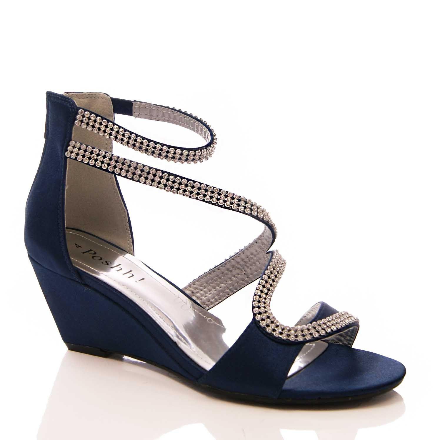 Tmavě modré společenské sandálky, 36-41 - Obrázek č. 1