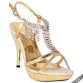 AKCE - zlaté plesové společenské sandálky, 36-41, 38