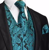 Pánský set - vesta, kravata,  kapesníček, 36