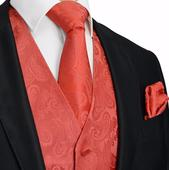 CORAL - pánský set vesta, kravata, kapesníček, 40