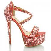 BW-1, extravagantní červené plesové sandálk, 36-41, 41