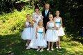 K zapůjčení - bílé šaty s tyrkys stuhou, 5-10 let, 140