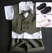 K zapůjčení - khaki letní oblek + capáčky, 62