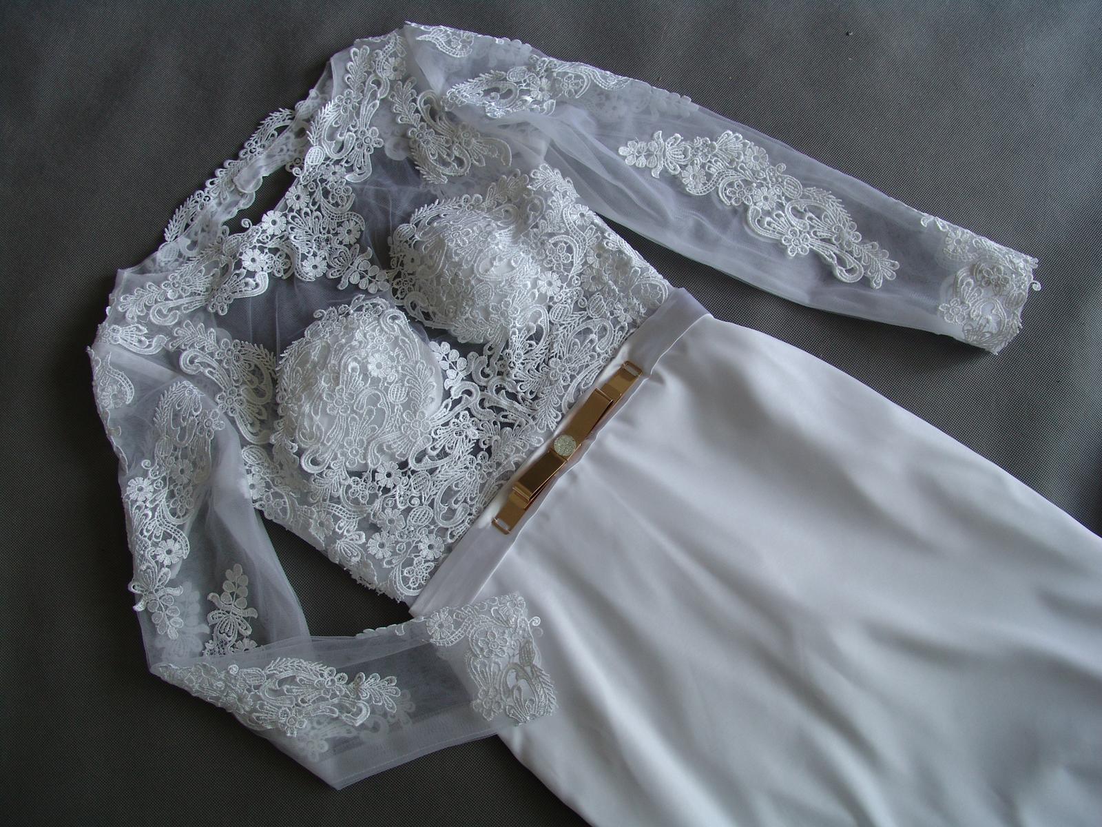 Krajkové svatební šaty, XS-XL, reálné foto  - Obrázek č. 1