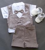 Letní oblek 1-2 roky, šedý, půjčovné, 92