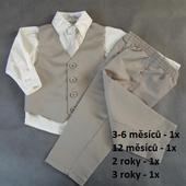 K zapůjčení - hnědý, béžový oblek 4 a 5 let, 86