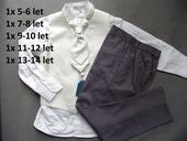 K zapůjčení - ivory oblek, šedé kalhoty, různé vel, 164