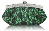 NOVINKA - zelená krajková společenská kabelka,