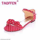 Červené retro puntíkaté sandálky, 38