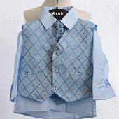 NOVINKA - oblek pro chlapce, světle modrý, 122