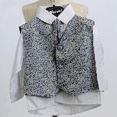 NOVINKA - stříbrný, šedý společenský oblek 0-8 let, 128