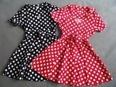Puntíkaté retro šaty - červené a černé, M