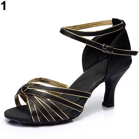 Černo-zlaté společenské taneční sandálky, 35-41 - Obrázek č. 1
