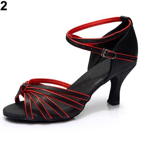 Černo-červené taneční střevíčky, sandálky, 35-41 - Obrázek č. 1