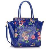 NOVINKA - květovaná kabelka, modrá,